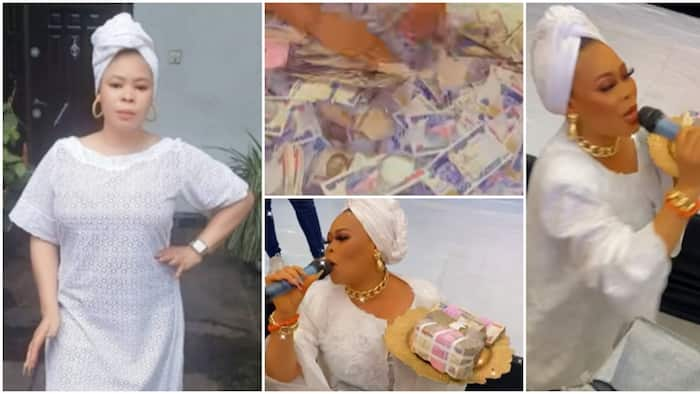 This is money ritual: Tayo Adeniyi says as she flaunts bundles and mountain of cash sprayed on her at event