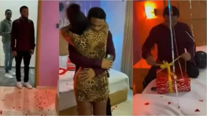 Pretty lady spoils boyfriend with lavish birthday surprise in bedroom video, stirs reactions