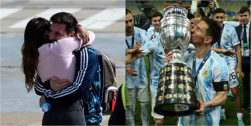 Moment Messi meets wife Ruccozzo at airport after Copa America win melt hearts