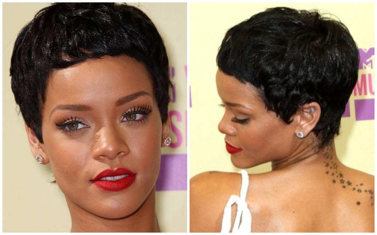 Rihanna's short hairstyles front and back view Legit.ng