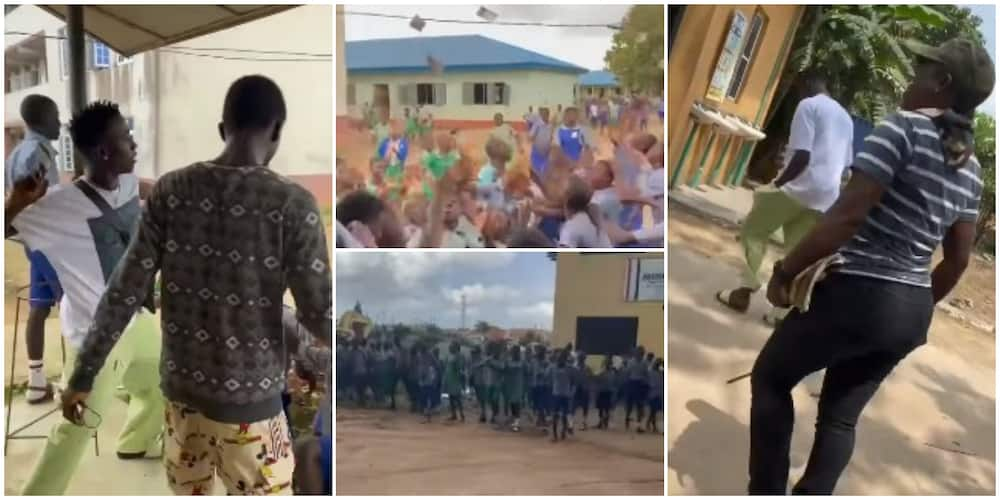 Man turns secondary school upside down, sprays cash for students