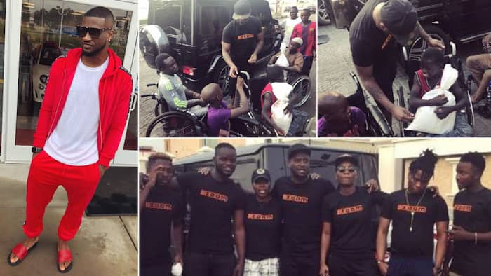 Peter Okoye gifts provisions to the physically challenged on the streets (photos)