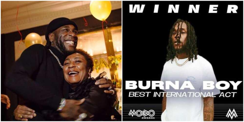 MOBO Awards: Burna Boy's mother celebrates him as he wins Best International Act