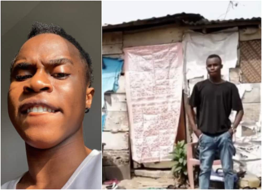 Funny Toheeb inspires social media with photo of the hut he lived in for 5 years