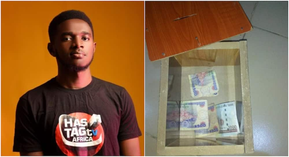 Massive reactions as Nigerian man breaks his piggybank to fetch naira notes, says he's not saving again