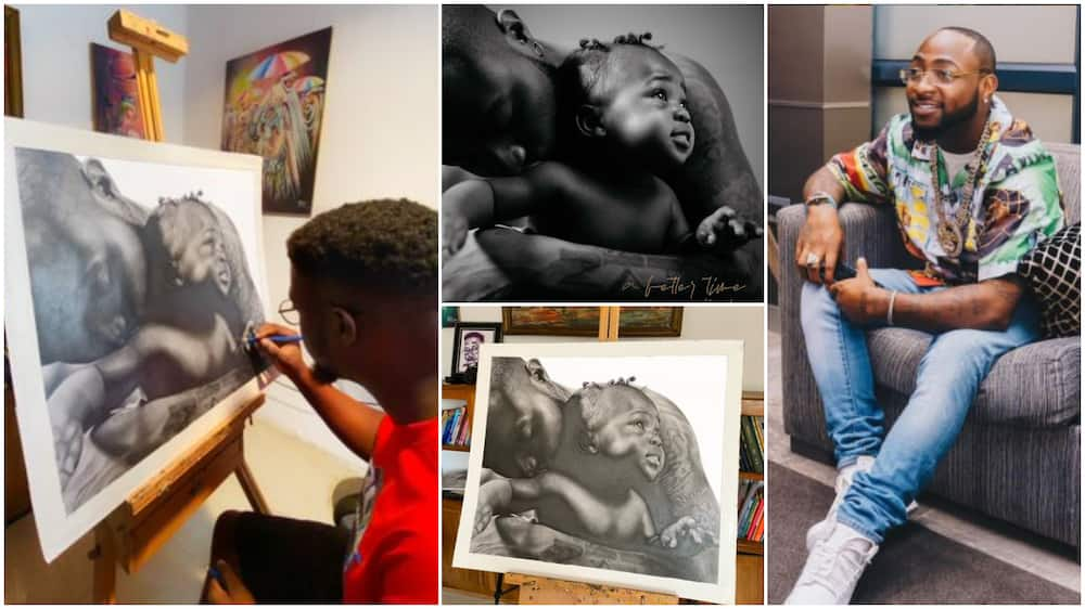 Talented Nigerian man draws Davido's A Better Time album cover (see photos)