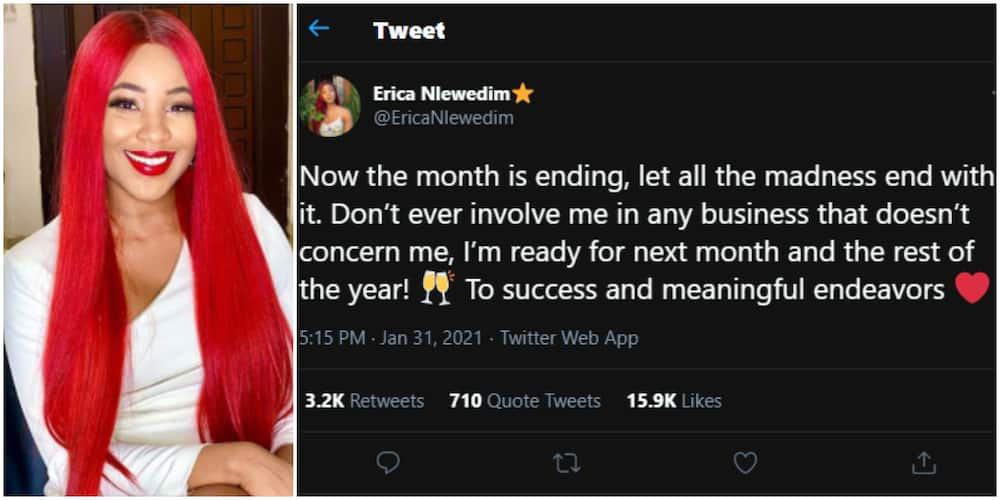 Don't ever involve me in business that does not concern me, BBNaija's Erica warns as new month begins