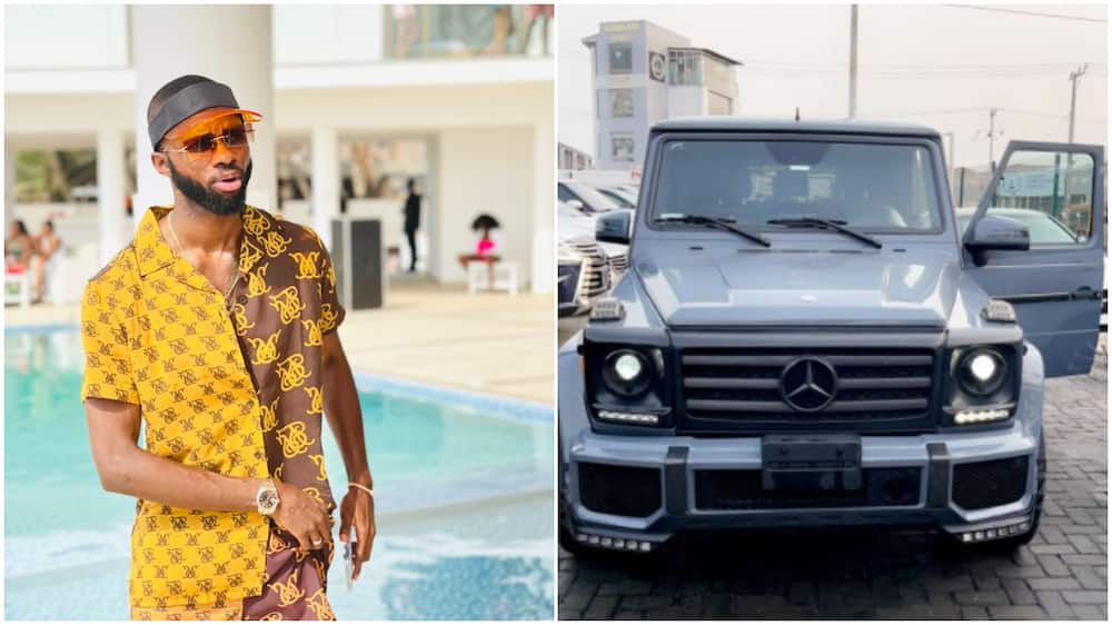 Nigerian man buys big exotic car, calls the vehicle new baby, its photo gets many talking