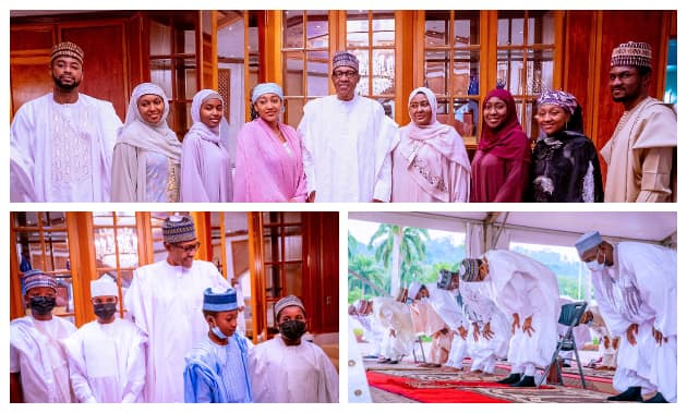 Eid al Fitr: Cute Photos Emerge as Buhari, Aisha, Family Members Celebrate Festival at Presidential Villa