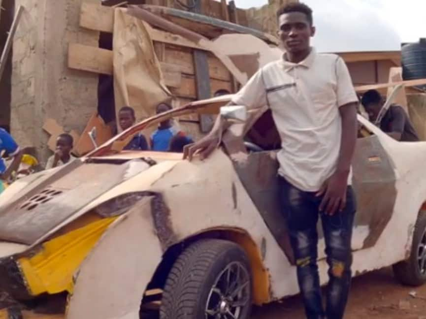 Video of talented young boy who built car out of scrap metals with his bare hands, drives it around town