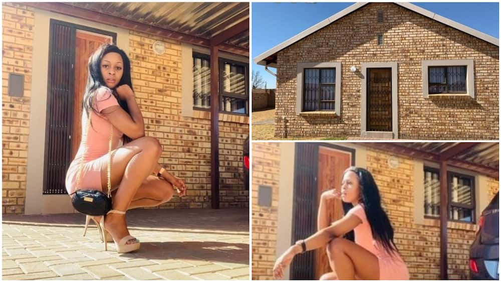 Pictures showing the lady posing in front of the house. Photos source: Twitter/Barbie monroe jennifer