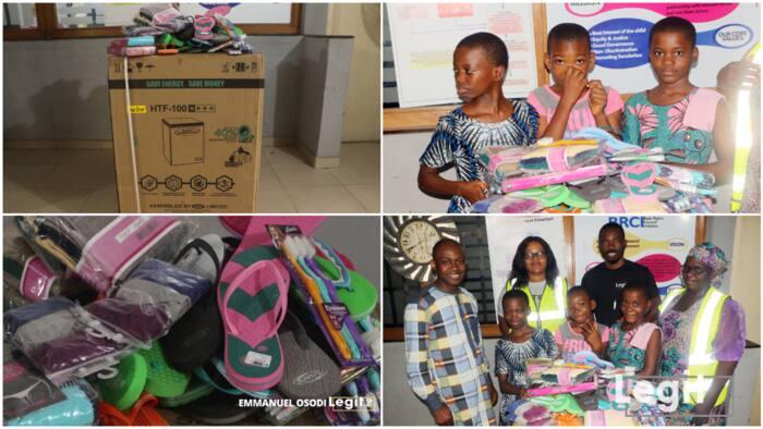 Legit.ng donates freezer, money to poor kids in Calabar, makes them smile in video