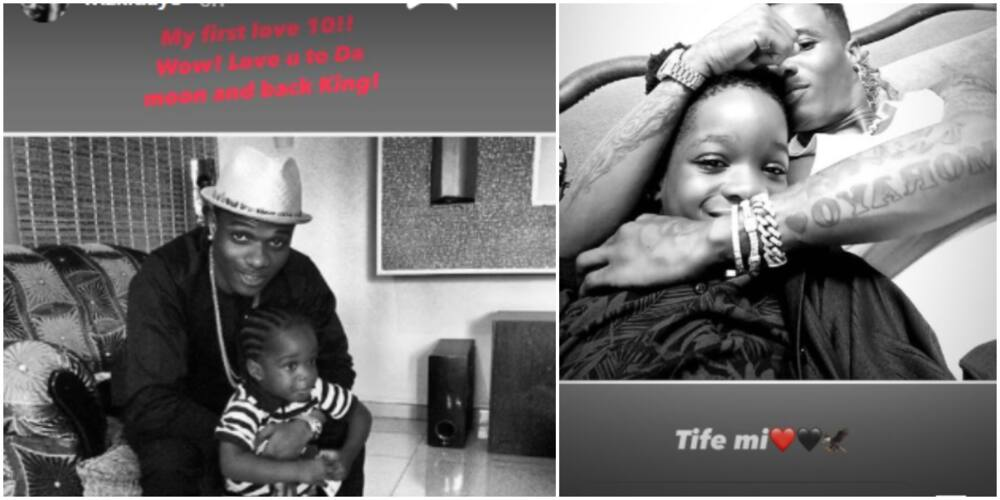 My first love at 10: Wizkid shares adorable throwback photos to celebrate 1st son Tife's birthday