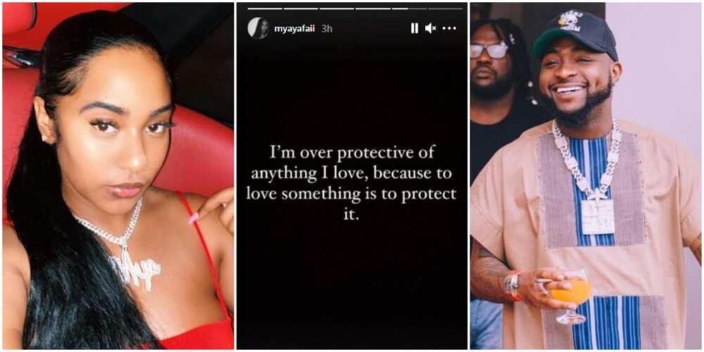 I'm Over Protective of Anything I Love, Davido's Alleged Girlfriend Mya Yafaii Says
