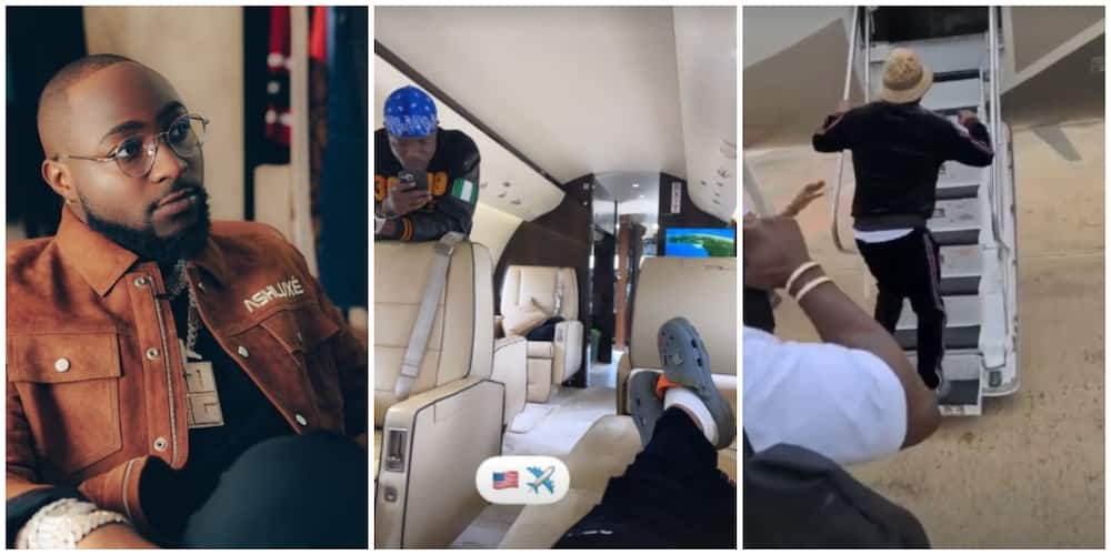 Nigerians Amused as Davido Bans 30BG Gang From His Private Jet, Shares Video