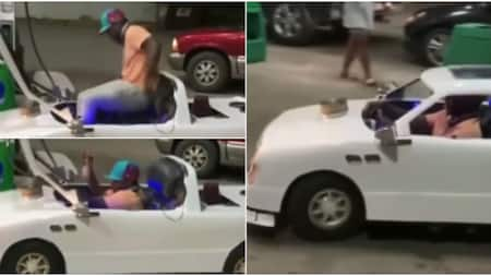 Man causes stir online after driving unique car that looks like toy to filling station, video goes viral