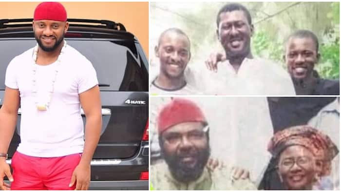 Yul Edochie shares rare family photo taken in 2004, dad Pete, mum and other siblings all look much younger