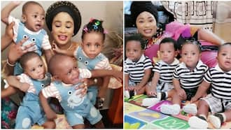 Nigerian mum who gave birth to quadruplets marks their 1st birthday with cute photos