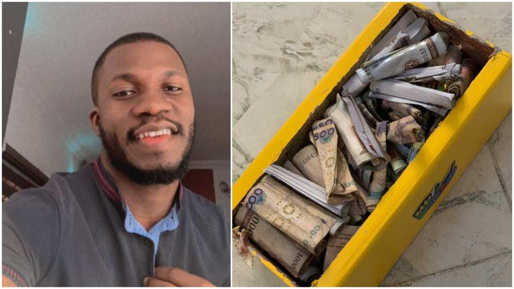Nigerian man breaks own piggy bank, many praise his discipline