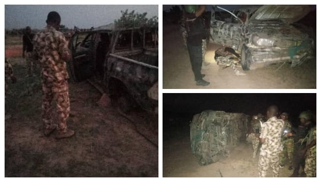 A damaged vehicle belonging to Nigerian Army