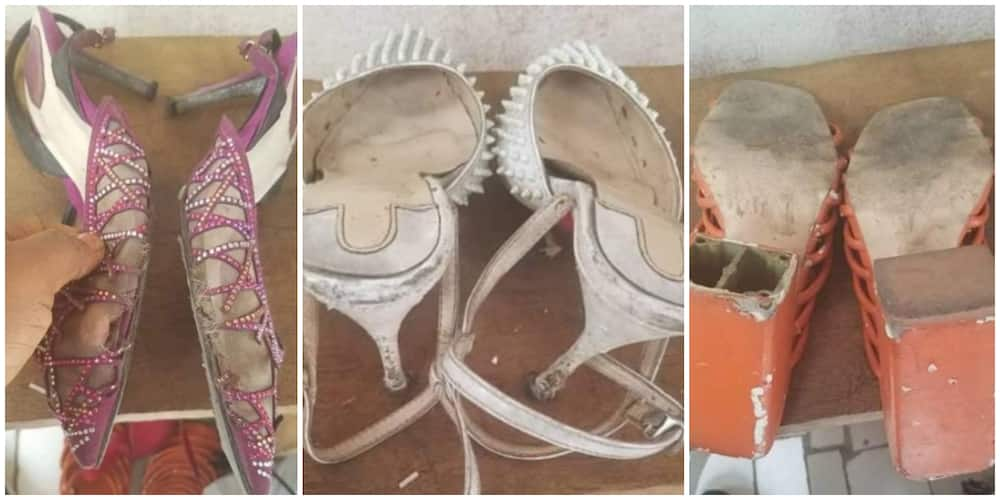 Lady shares photos of shoes she received as giveaway from her benefactor