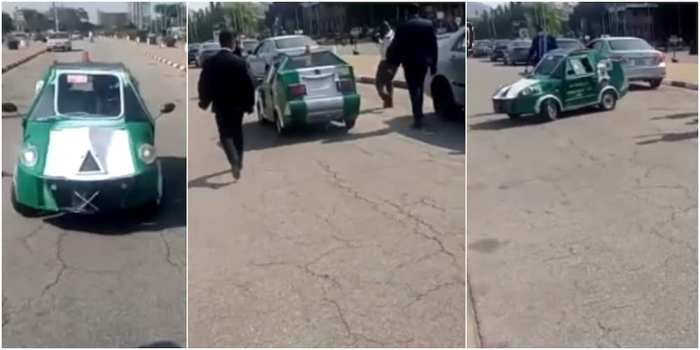 30-year-old Nigerian man celebrated after manufacturing beautiful car; video shows minister cruising with the whip
