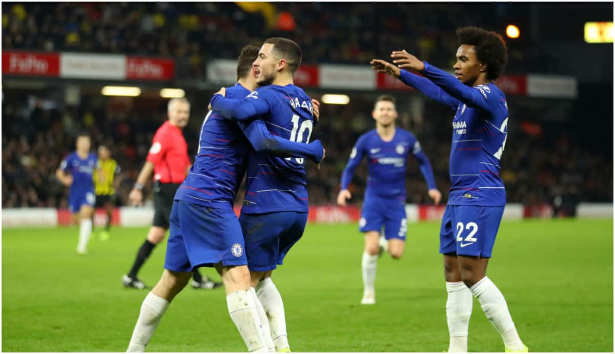 Hazard scores his 100th Chelsea goal in their 2-1 win away at Watford