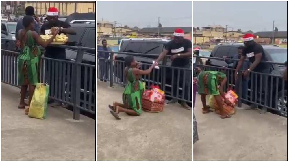 Man blesses orange seller with Christmas money, hamper, many react