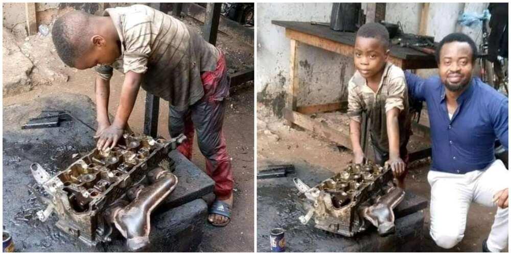 6-Year-Old Nigerian Boy Gets Dirty as He Works as an Auto Mechanic, Photos Spark Huge Debate