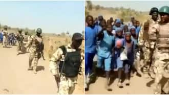 Video shows soldiers escorting children to school in the northeast over insecurity, stirs massive reactions