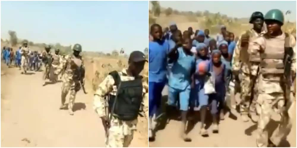 Soldiers escorted Nigerian pupils to school in the north