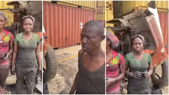 Two young Nigerian girls spotted helping their dad fix heavy truck go viral, video sparks mixed reactions