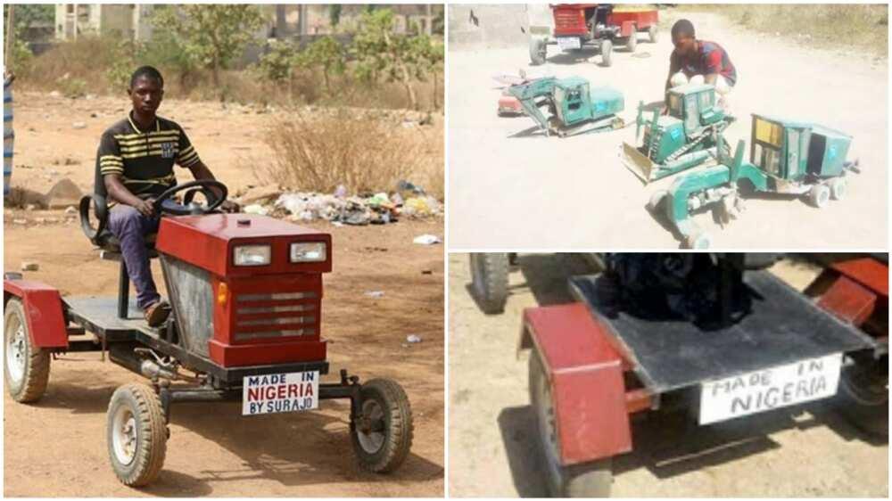 The Nigerian man displays his creative work. Photo source: AutoJosh