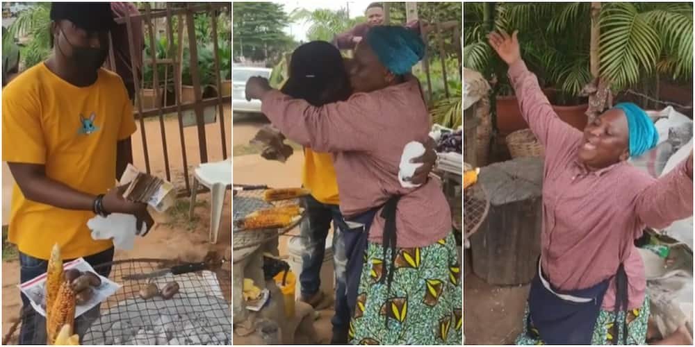 A young Nigerian man blessed a corn seller with N103k