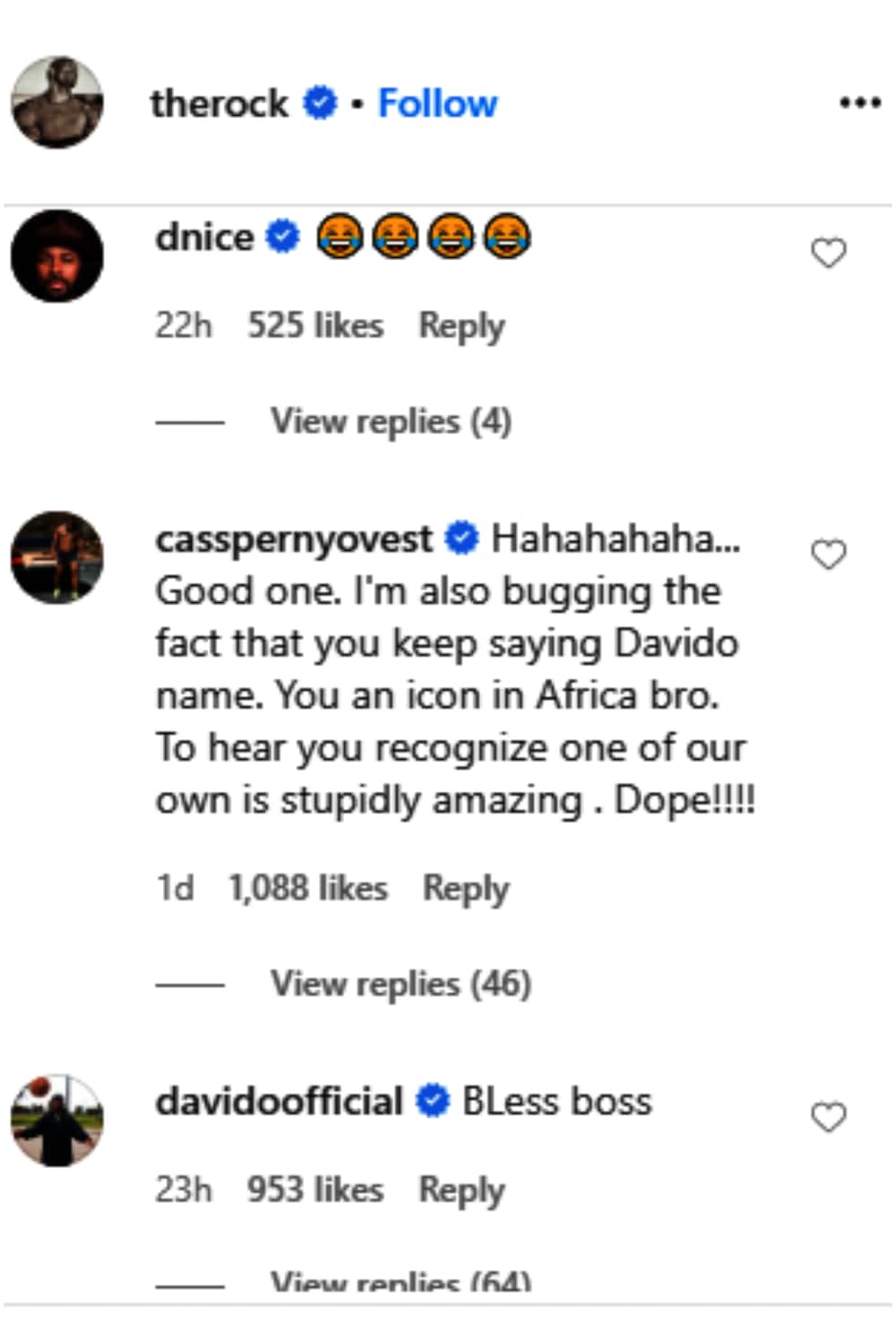 Hollywood Superstar Dwayne The Rock Johnson mentions Davido, singer reacts