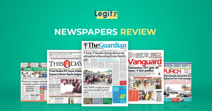 Legit.ng newspaper weekly review leads with TB Joshua's Sudden