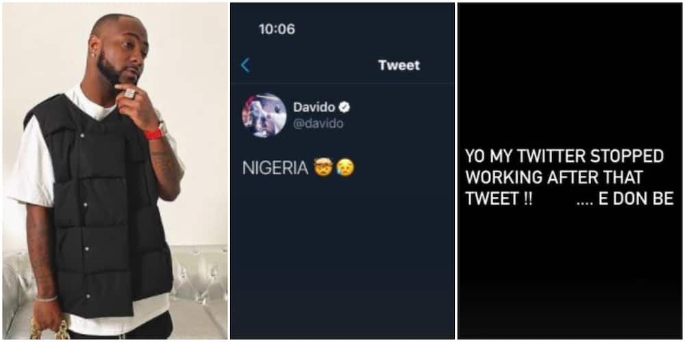 Twitter Ban: Davido Reacts As He Is Unable to Use Application After Posting Tweet About Nigeria