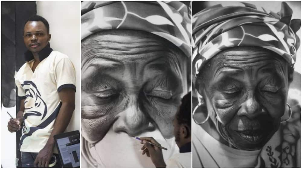 Young Nigerian man draws old woman with pencil, people mistake his art for photograph, praise him