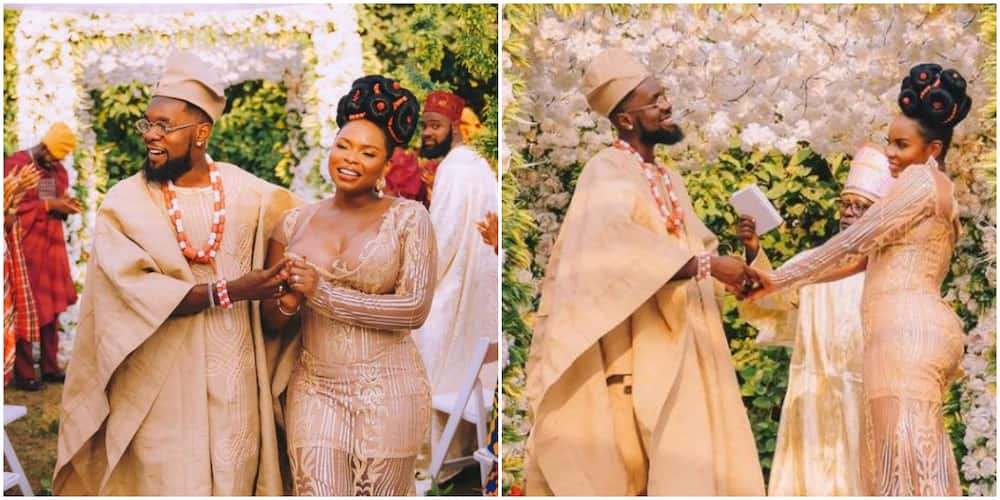 Fans congratulate Patoranking and Yemi Alade as they share traditional wedding themed photos