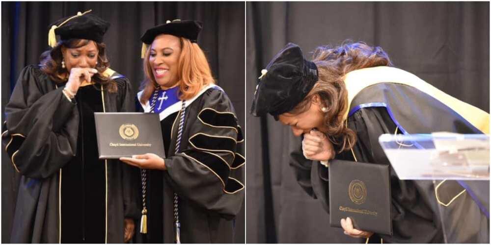 Kathy Amos: Woman gets emotional as she bags PhD at 57