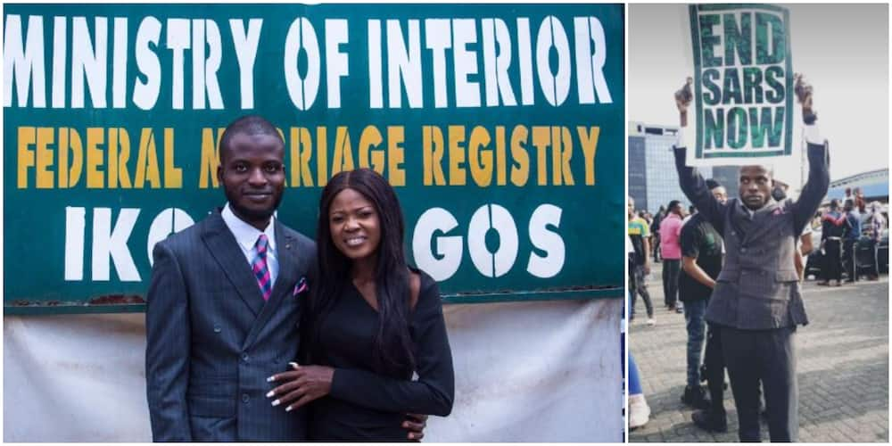End SARS: Man joins protest after his court wedding in Lagos (photos)