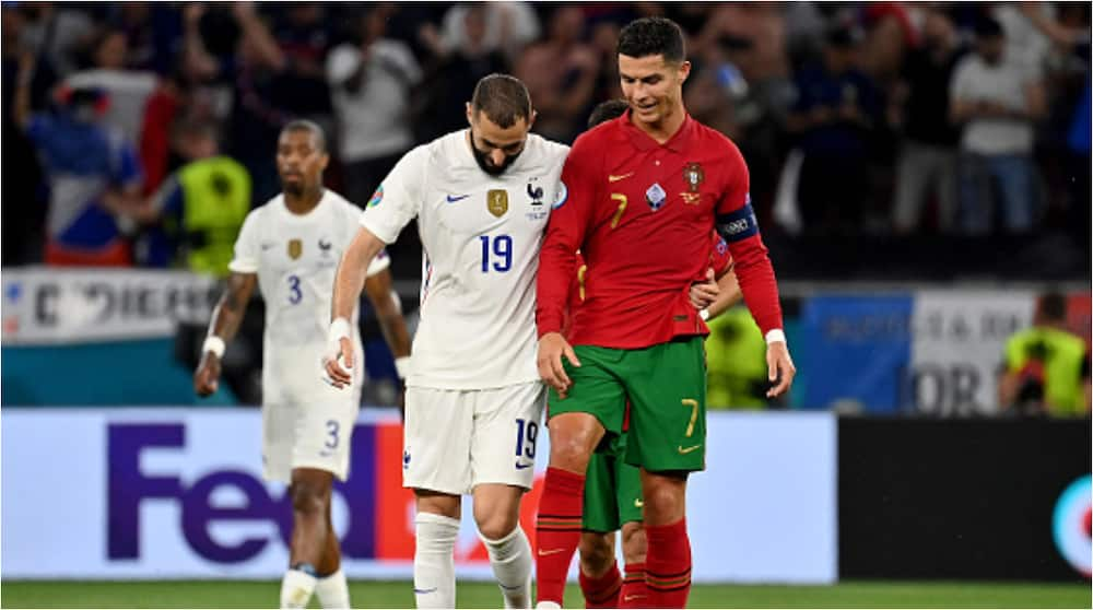 After scoring 2 goals each during Portugal vs France, ex-Real Madrid teammates Ronaldo and Benzema stun fans