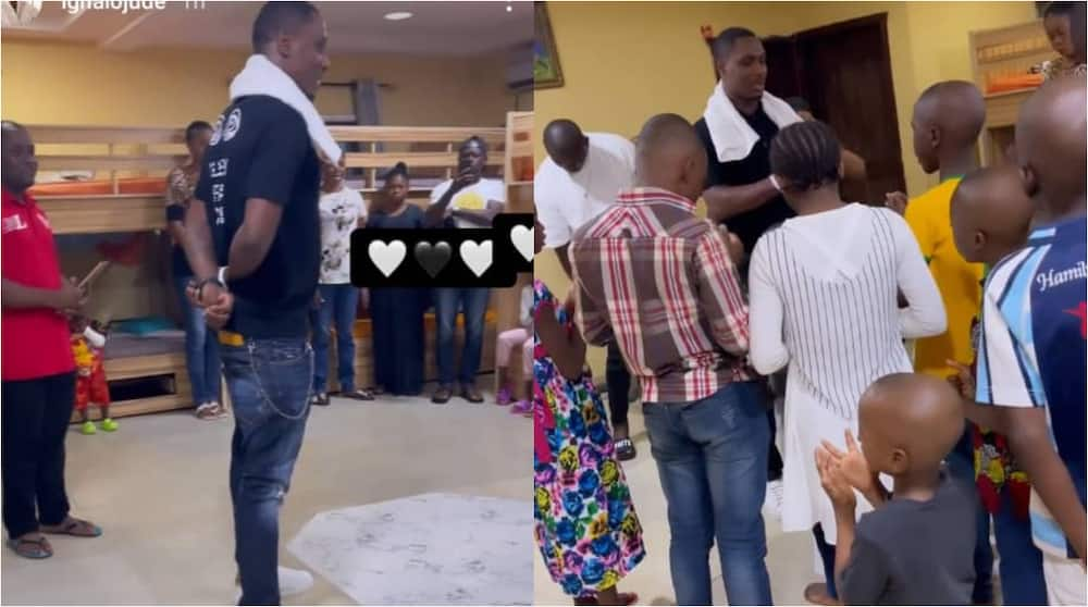 Amazing Moment As Former Super Eagle Striker Odion Ighalo Spotted Praying With Children at His Orphanage Home