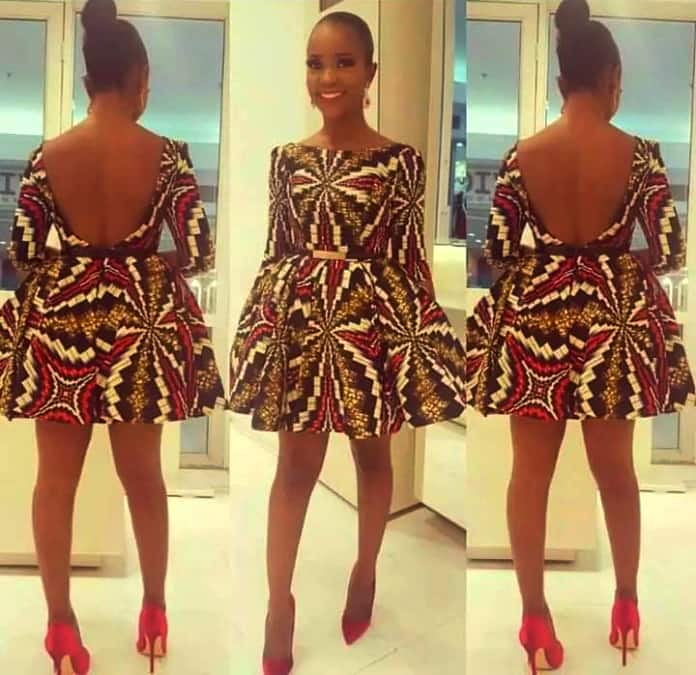 A line Ankara dress with open back