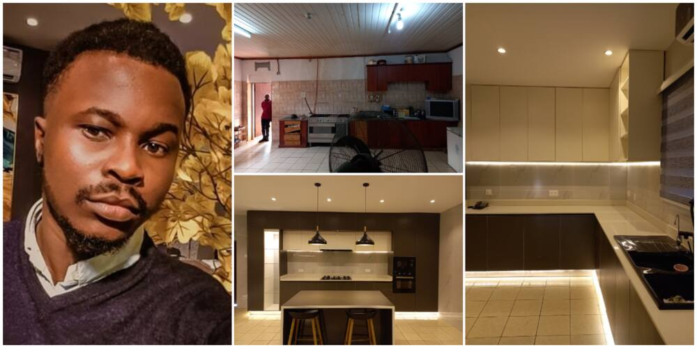 Nigerian Man Impresses Many as he Gives Kitchen a Transformed Look, Photos Cause Huge Stir