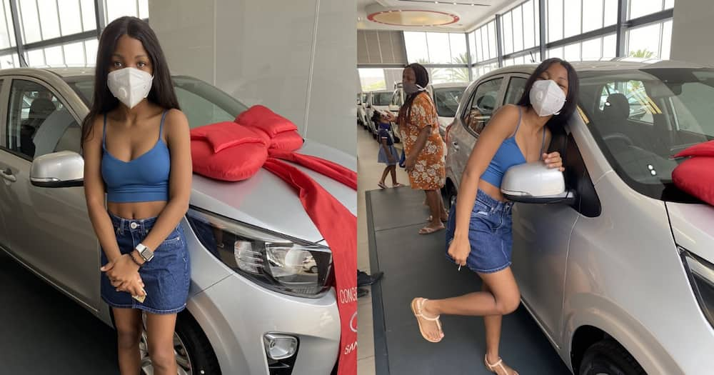 Beautiful South African woman celebrates getting some brand new wheels