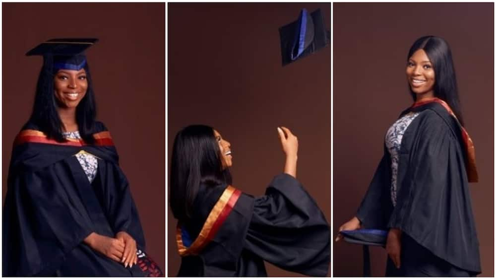 A collage showing the graduate. Photo source: Twitter/Tobi