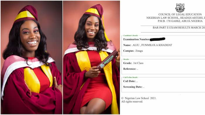 Nigerian lady celebrates graduating with 1st class in law school after she couldn't do it in the university