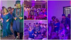 Oyinbo lady dresses in Yoruba attire as she marries Nigerian man, groomsmen try to prostrate for her dad
