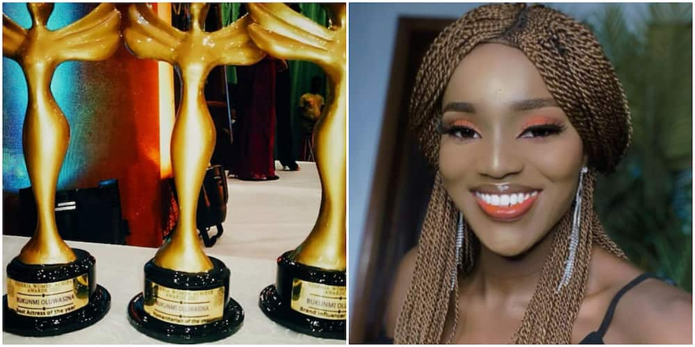Actress Bukunmi Oluwasina in Shock as She Wins 3 Major Awards in One Night, Expresses Gratitude to Fans